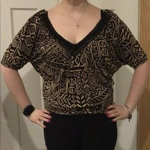 Black and Brown Patterned Top